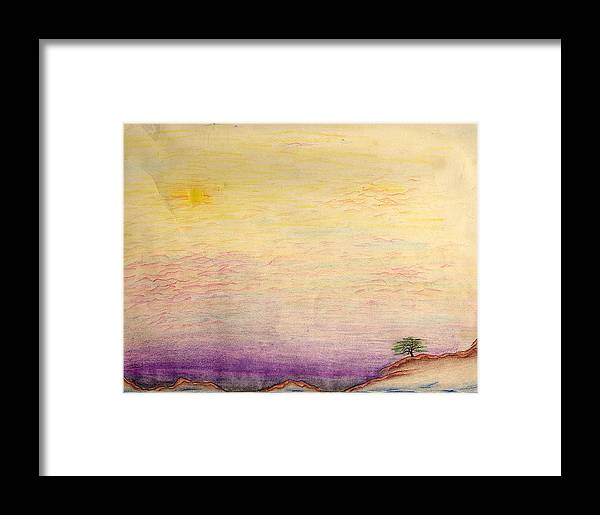 Landscape Framed Print featuring the drawing The Calm Waters Of Shallow Comfort by Nathaniel Hoffman