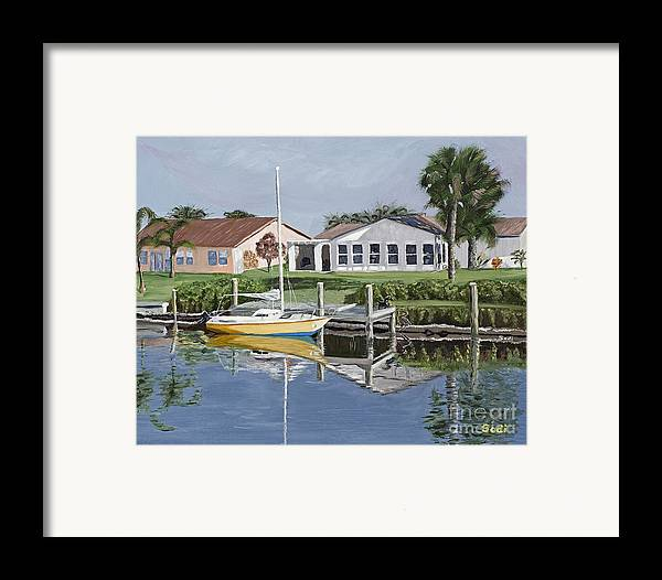 Landscape Framed Print featuring the painting The Canal Awakens by Sodi Griffin