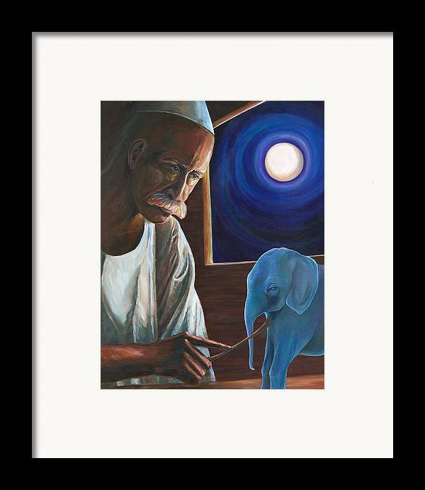Mystical Portriat Framed Print featuring the painting The Carver by Kathleen Boyle Magnuson