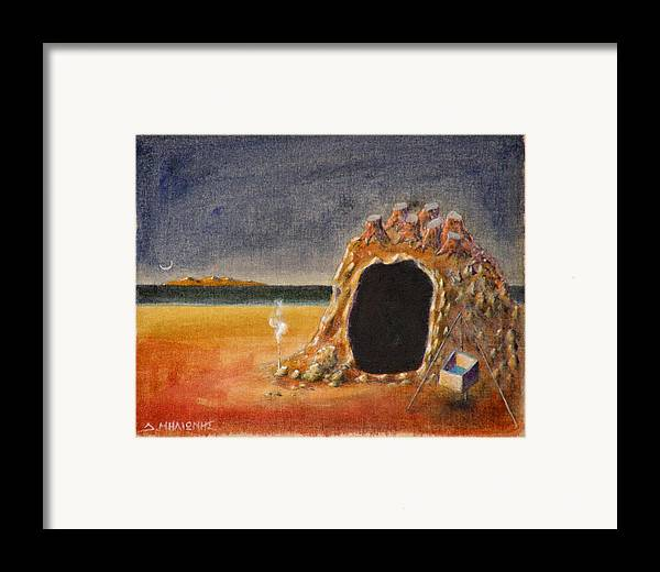 Metaphysacal Framed Print featuring the painting The Cave Of Orpheas by Dimitris Milionis