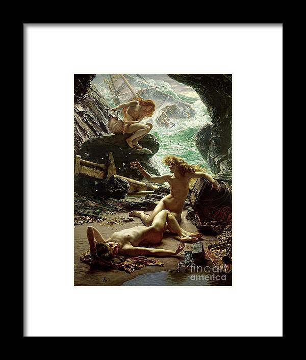 The Cave Of The Storm Nymphs Framed Print featuring the painting The Cave of the Storm Nymphs by Sir Edward John Poynter