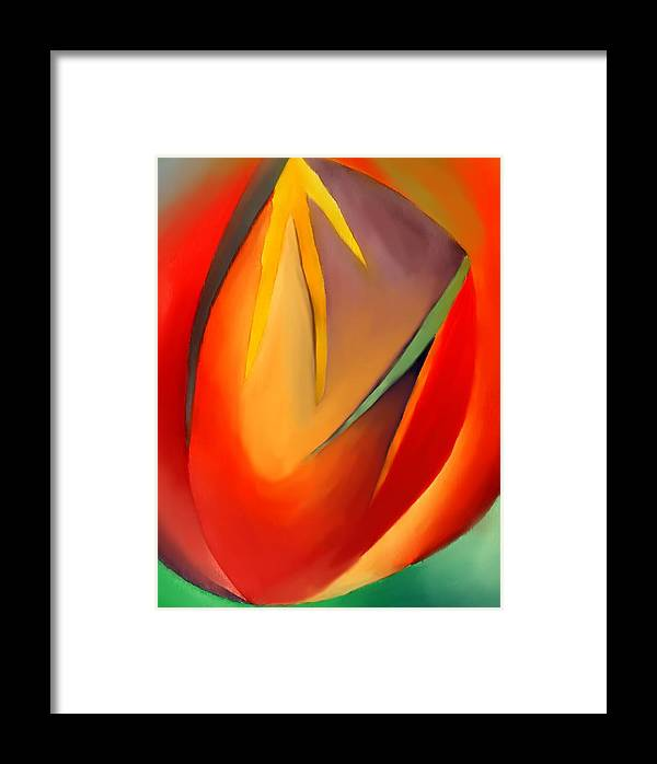 Abstract Framed Print featuring the painting The Cave by Peter Shor