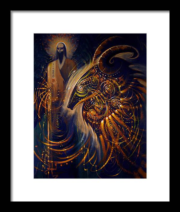 Oil Framed Print featuring the digital art The Cernunnos Of Metatron by Stephen Lucas