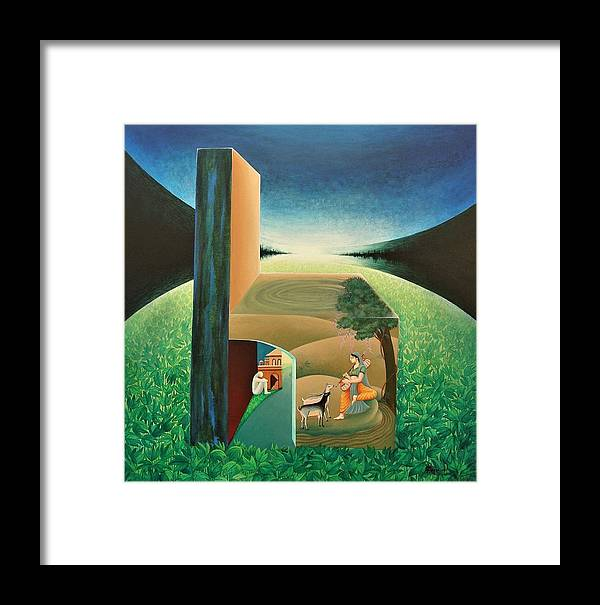 Romantic Framed Print featuring the painting The Chair - A by Raju Bose