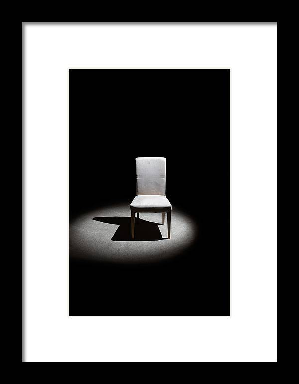 Black & White Framed Print featuring the photograph The Chair by Peter Tellone