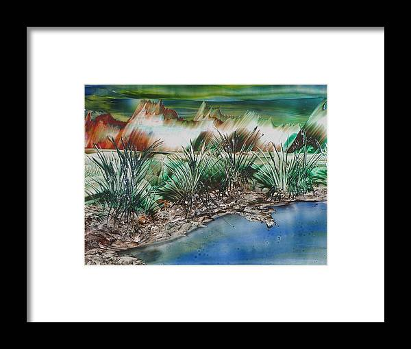 Landscape Encaustic Painting Framed Print featuring the painting The Channel by Gina Reynolds