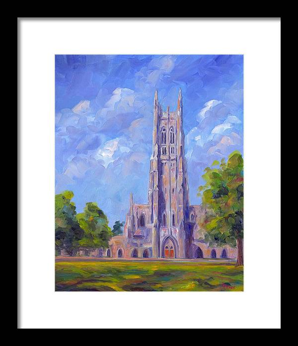 Duke Chapel Framed Print featuring the painting The Chapel At Duke University by Jeff Pittman