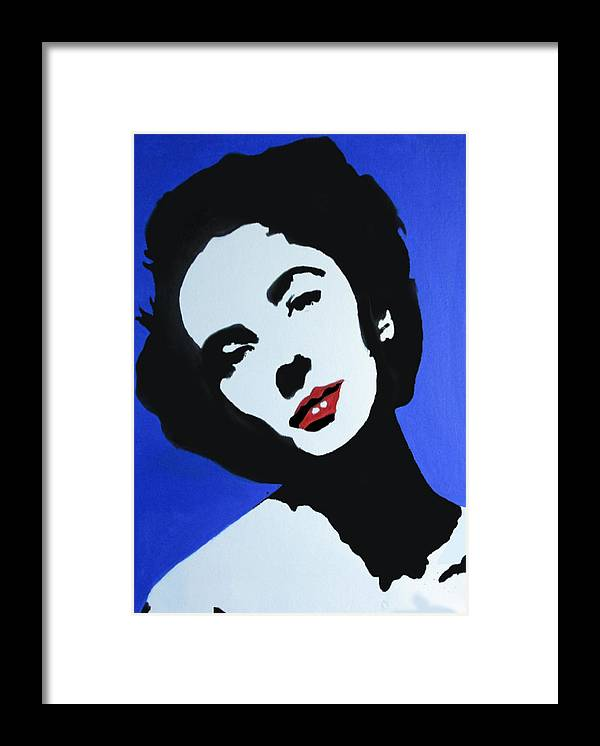 Portrait Framed Print featuring the painting The Charming Lady In Black And White With Red Lips by Klaus Engels