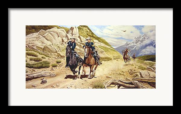 Western Framed Print featuring the painting The Chase by Marc Stewart