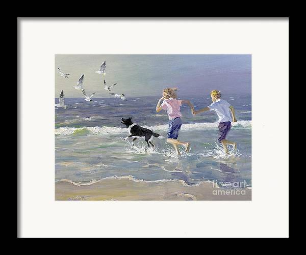 Seaside; Children; Playing; Male; Female; Girl; Boy; Paddling; Pet Dog; Seagulls; Seashore; Sea; Beach; Summer; Holiday; Vacation; Fun; Holding Hands; Splashing; Coastal; Coast; Running; Seagull; Sand; Wave; Waves; Barefoot Framed Print featuring the painting The Chase by William Ireland