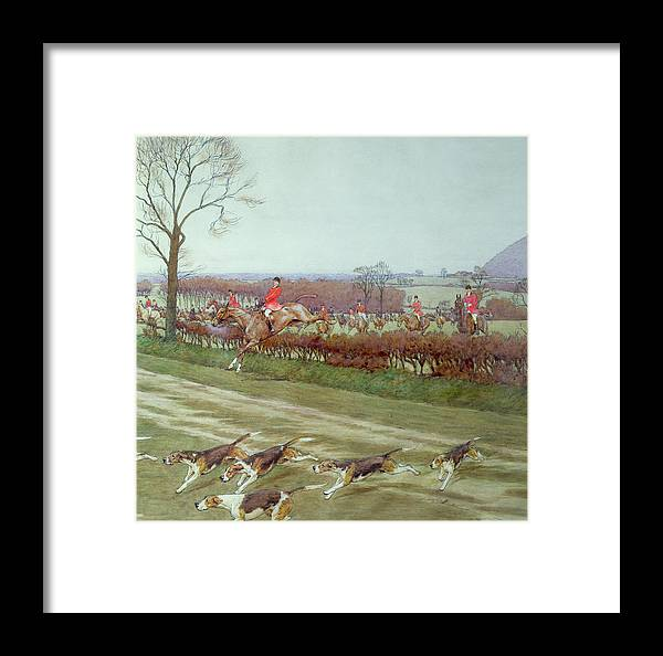 Hunt; Dogs; Hounds; Countryside; Jumping; Hedge; Trees; Horses ;j; Freeman Framed Print featuring the painting The Cheshire Away From Tattenhall by Cecil Charles Windsor Aldin