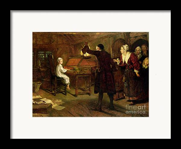 The Child Handel Framed Print featuring the painting The Child Handel Discovered By His Parents by Margaret Isabel Dicksee