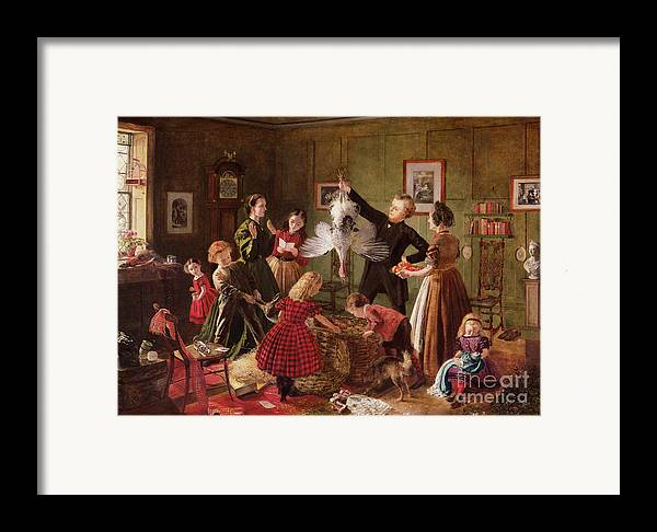 The Framed Print featuring the painting The Christmas Hamper by Robert Braithwaite Martineau