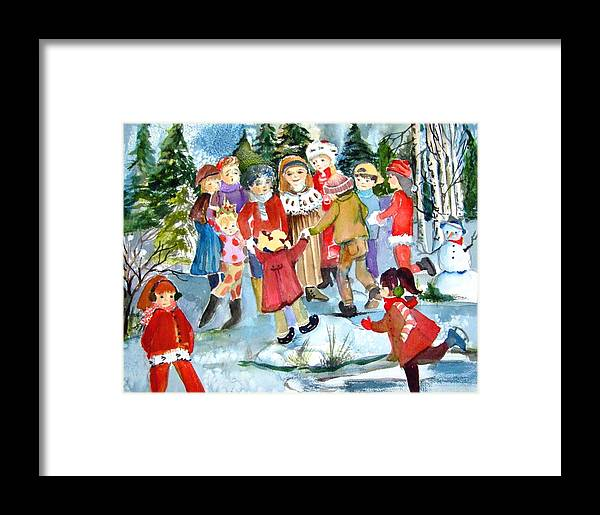 Christmas Framed Print featuring the painting The Christmas Party by Mindy Newman