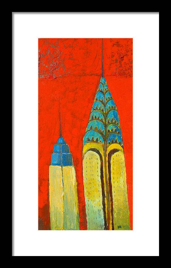 Framed Print featuring the painting The Chrysler And The Empire State by Habib Ayat
