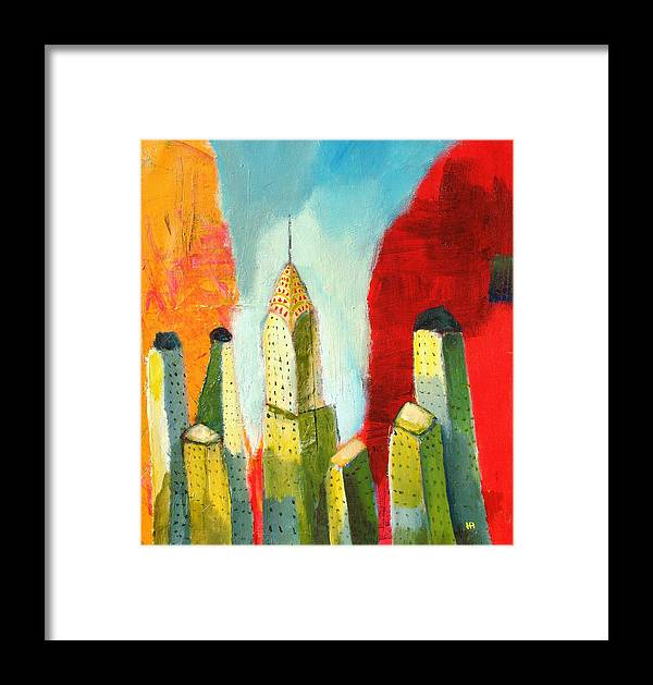Abstract Cityscape Framed Print featuring the painting The Chrysler In Colors by Habib Ayat