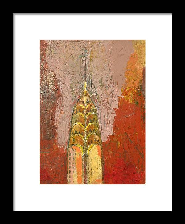 Abstract Cityscape Framed Print featuring the painting The Chrysler In Motion by Habib Ayat