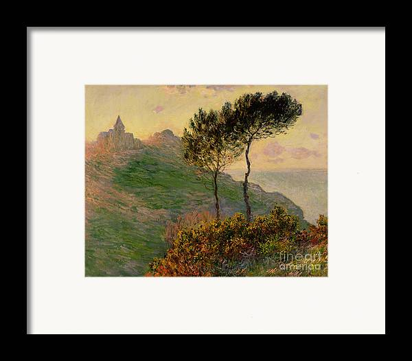 The Church At Varengeville Framed Print featuring the painting The Church At Varengeville Against The Sunlight by Claude Monet