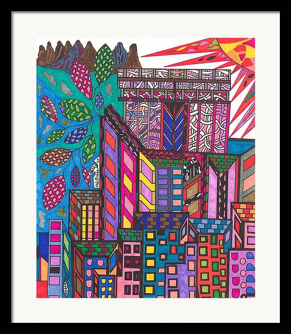 N.y. Framed Print featuring the drawing The City That Never Sleeps by Eric Devan