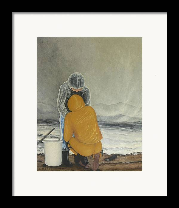 Figurative Framed Print featuring the painting The Clamdigger by Georgette Backs