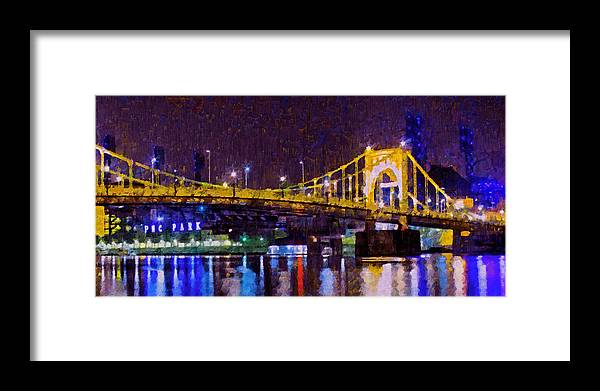 Clemente Bridge Framed Print featuring the digital art The Clemente Bridge Heading To The Northshore by Digital Photographic Arts