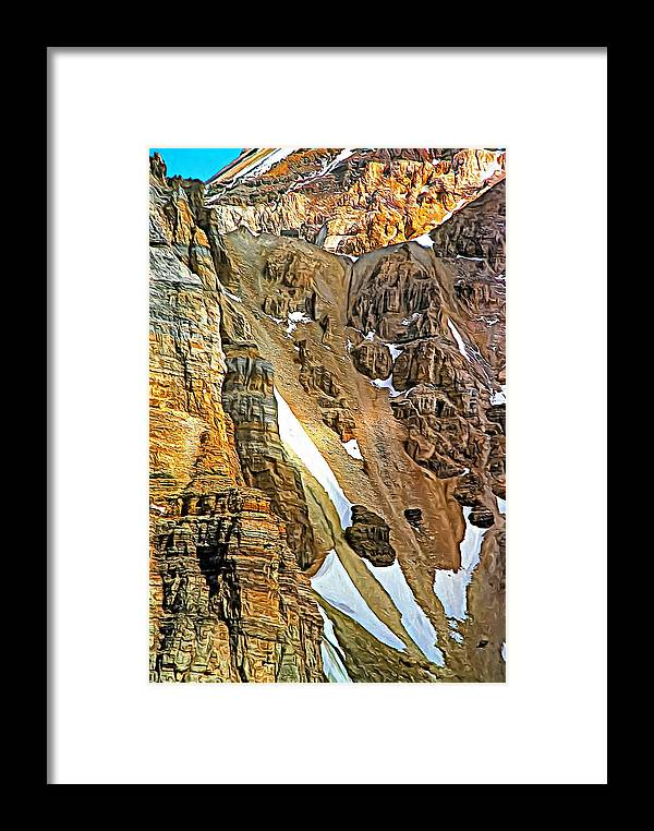 Canadian Rockies Framed Print featuring the photograph The Climb To Abbot's Hut - Paint by Steve Harrington