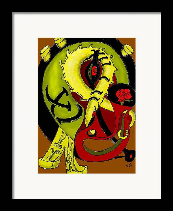Clock Framed Print featuring the digital art The Clock by Helmut Rottler