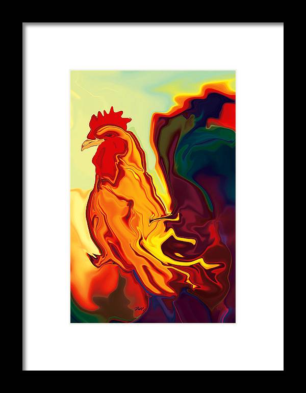 Animals Framed Print featuring the digital art The Cock by Rabi Khan