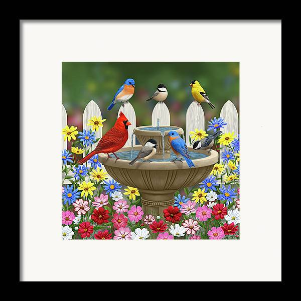 Birds Framed Print featuring the painting The Colors Of Spring - Bird Fountain In Flower Garden by Crista Forest