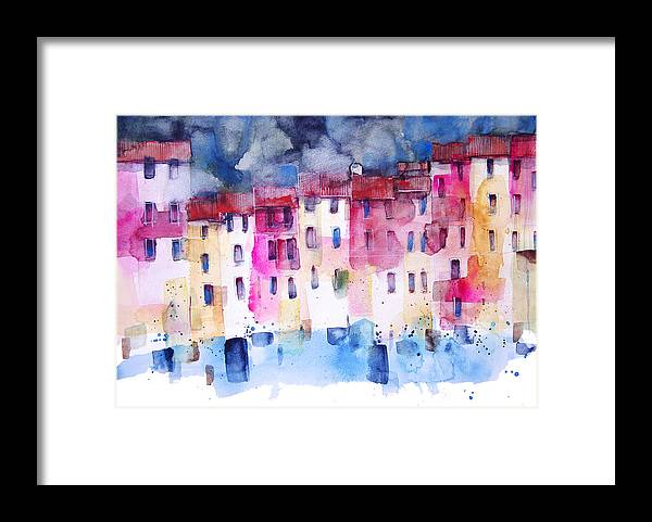 Architecture Framed Print featuring the painting The coloured houses of Portofino by Alessandro Andreuccetti