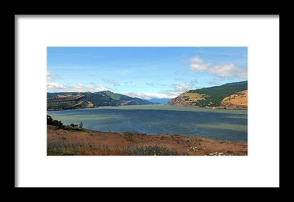 Columbia River Framed Print featuring the photograph The Columbia River by Judy Wanamaker