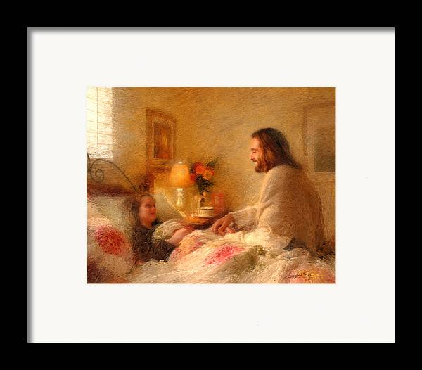 Jesus Framed Print featuring the painting The Comforter by Greg Olsen