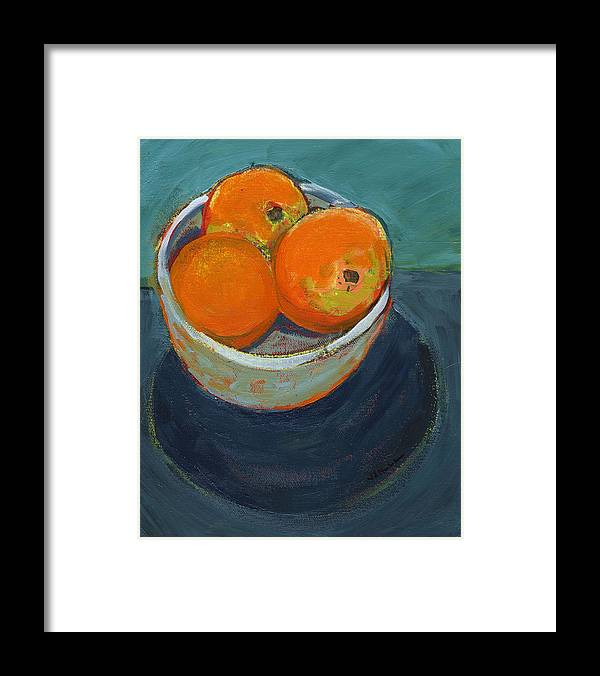 Orange Framed Print featuring the painting The Community Bowl Project by Jennifer Lommers