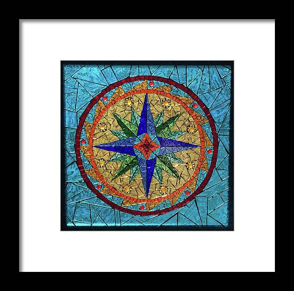 Stained Glass Framed Print featuring the glass art The Compass by Dianne Cutler
