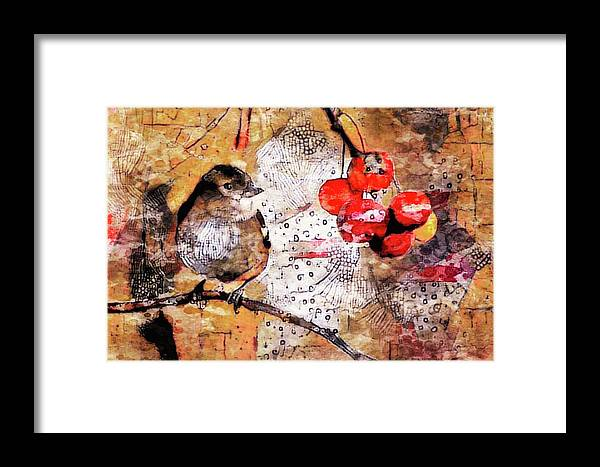 Content Sparrow Framed Print featuring the mixed media The Content Sparrow by Susan Maxwell Schmidt