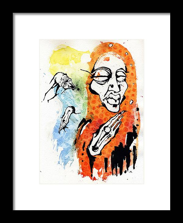 Figures Framed Print featuring the painting The Conversation by Mark M Mellon