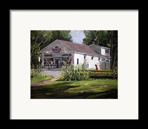 Buildings Framed Print featuring the painting The Country Store by Nancy Griswold