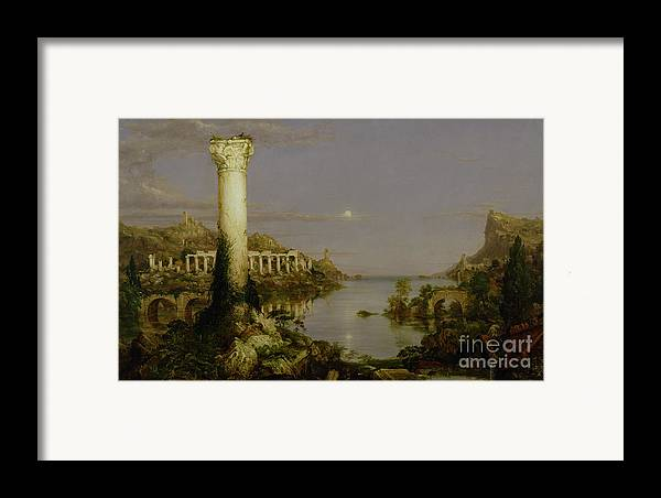 Moonlit Landscape; Classical; Architecture; Ruin; Ruins; Desolate; Bridge; Column; Hudson River School; Moon Framed Print featuring the painting The Course Of Empire - Desolation by Thomas Cole