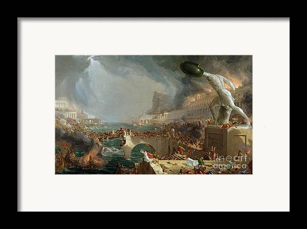 Destroy; Attack; Bloodshed; Soldier; Ruin; Ruins; Shield; Monument; Bridge; Classical Architecture; Galleon; Barbarian; Barbarians; Possibly Fall Of Rome; Hudson River School; Statue Framed Print featuring the painting The Course Of Empire - Destruction by Thomas Cole