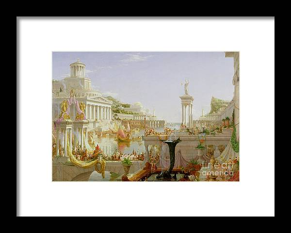 Civilisation; Ideal; Classical; Monument; Architecture; Column; Fountain; Hudson River School; The Course Of Empire: The Consummation Of The Empire Framed Print featuring the painting The Course of Empire - The Consummation of the Empire by Thomas Cole