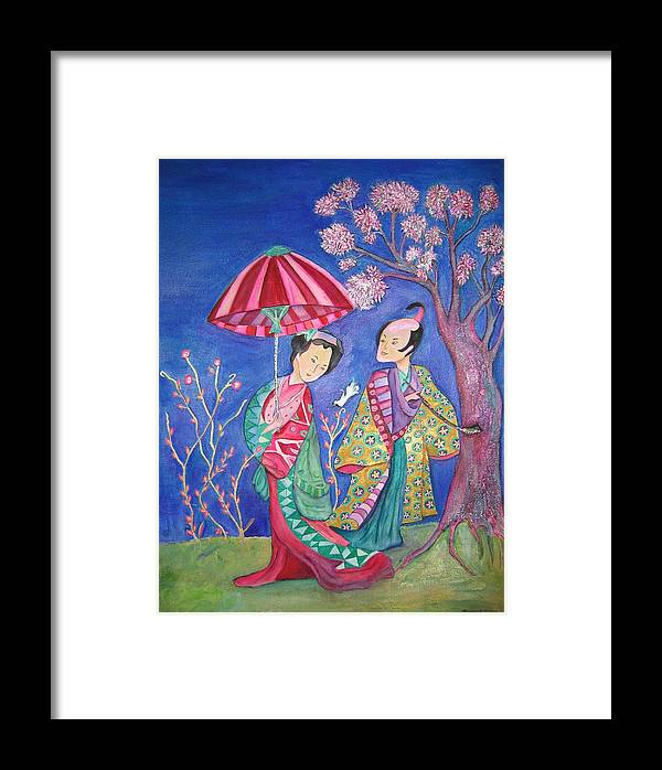 Umbrella Framed Print featuring the painting The Courtship by Marlene Robbins