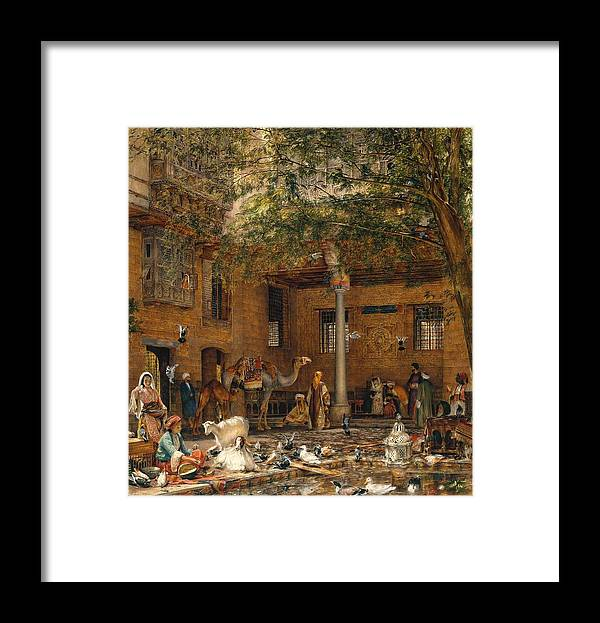 John Frederick Lewis 1805�1876  Study For �the Courtyard Of The Coptic Patriarch�s House In Cairo� Village Framed Print featuring the painting The Courtyard Of The Coptic by John Frederick
