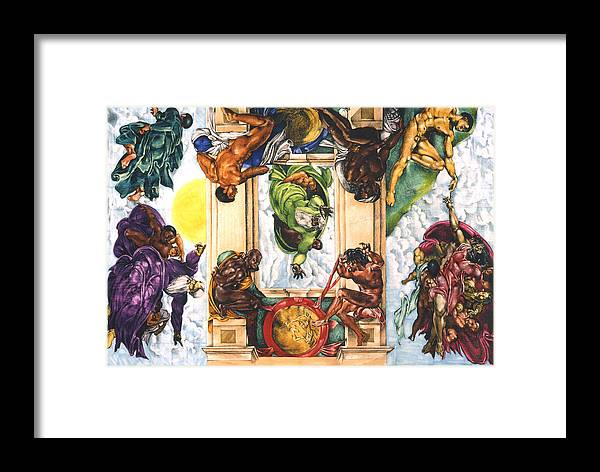 Sistine Chapel Framed Print featuring the mixed media The Creation...in My Minds Eye by Lamark Crosby