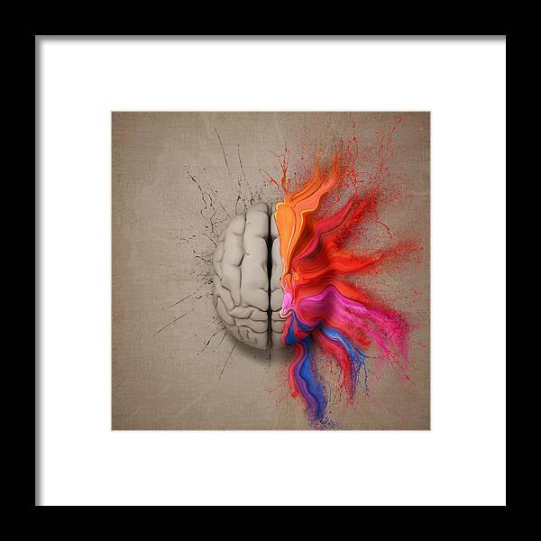 Brain Framed Print featuring the digital art The Creative Brain by Johan Swanepoel