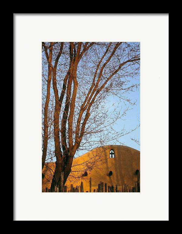San Francisco De Taos Church With Cross And Trees Framed Print featuring the photograph The Cross by Lynard Stroud