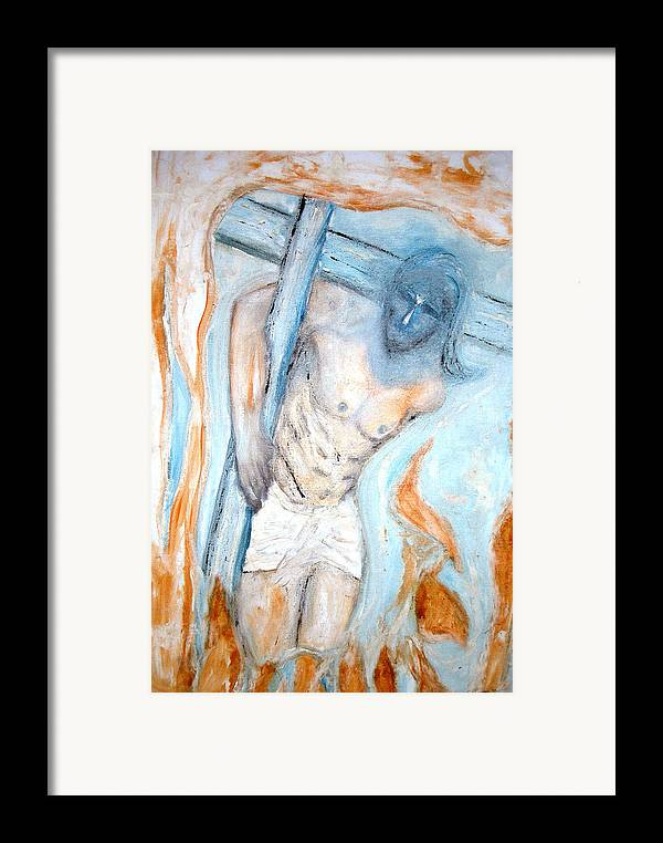 Cross Framed Print featuring the painting The Cross by Narayanan Ramachandran