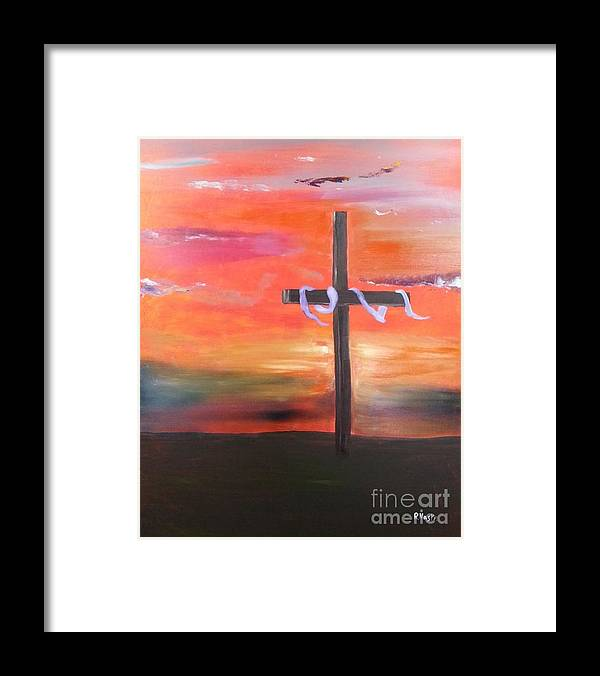 Inspirational Framed Print featuring the painting The Cross by Randy Maske