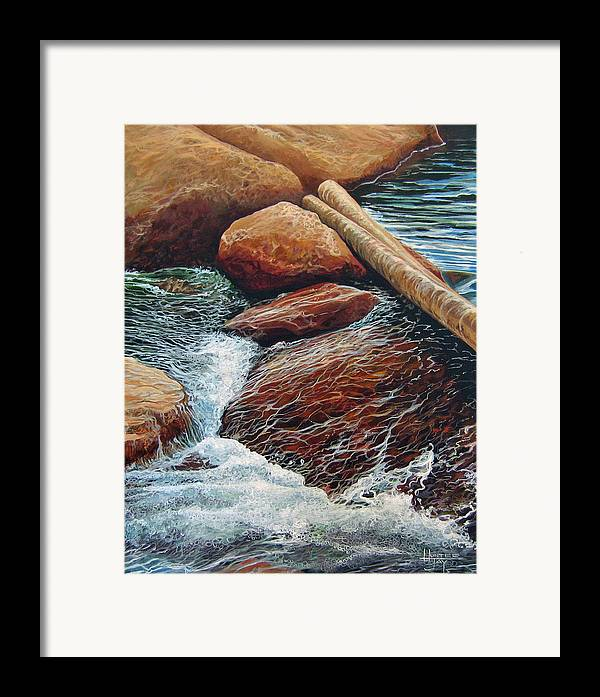 Stream Framed Print featuring the painting The Crossing by Hunter Jay