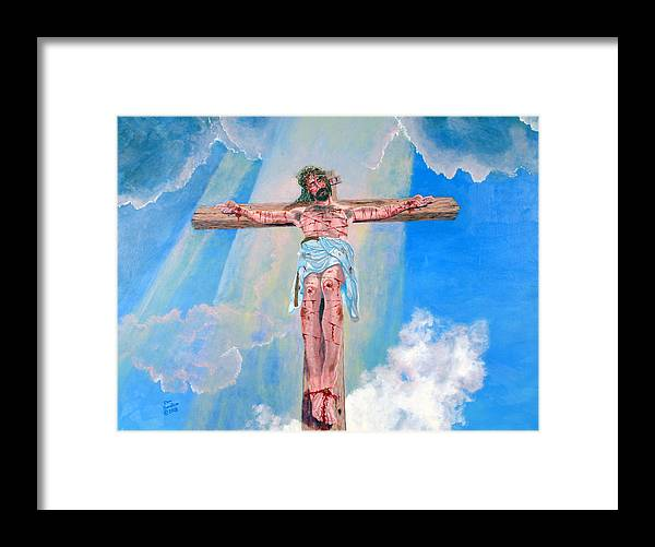 Christian Framed Print featuring the painting The Crucifixion DayTime by Stan Hamilton