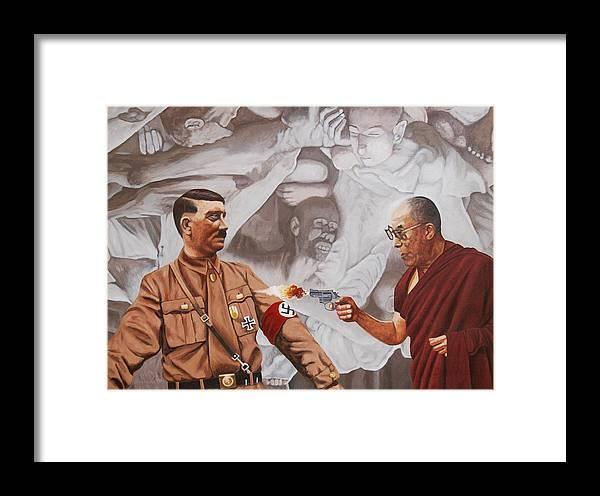 Dalai Lama Framed Print featuring the painting The Dalai Lama Shoots Adolph Hitler by Allan OMarra